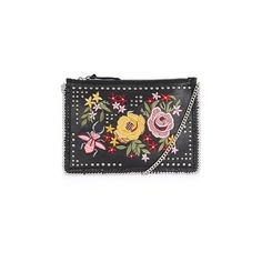 Topshop Floral Embroidered Cross Body Bag (150 BRL) ❤ liked on Polyvore featuring bags, handbags, shoulder bags, black, leather shoulder bag, chain shoulder bag, crossbody purses, studded shoulder bag and leather purses