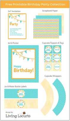 Free printables from Amy @Amy Locurto | LivingLocurto.com  http://www.livinglocurto.com/2012/01/free-party-printables-birthday/