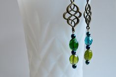 Gypsy Boho Antiqued Brass with Blue and Green Glass Beads Dangle Earrings, by GypsyInMyBlood #bohostyle #bohemian #earrings