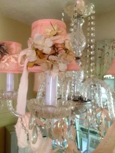 Gorgeous crystal chandelier with handmade blush pink floral shades
