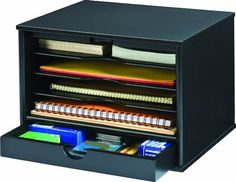 Amazon.com: Victor Wood Midnight Black Collection, 4-Shelf Desktop Organizer, Black, (4720-5): Office Products