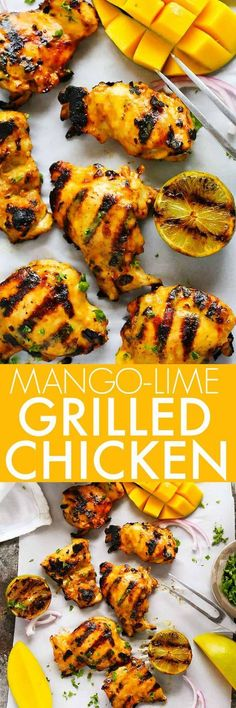 Grilled Mango Chicken Mango Lime Grilled Chicken features a sweet and spicy mango lime marinade that caramelizes perfectly on a hot grill. It's perfect for your summer BBQ. Turkey Recipes, Meat Recipes, Chicken Recipes, Dinner Recipes, Cooking Recipes, Healthy Recipes, Lime Recipes, Easy Cooking, Dinner Ideas