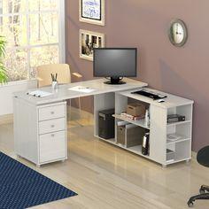 Brayden Studio Conwell Reversible L-Shape Computer Desk - DIY Desk Ideen Computer Workstation Desk, Diy Computer Desk, Gaming Desk, Home Office Storage, Home Office Desks, Desk With File Drawer, Big Desk, Work Station Desk, Work Stations