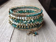 Bohemian Brass Sparkler Multi Coil Memory Wire by McHughCreations, $36.95