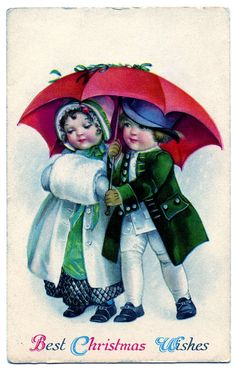Vintage Christmas Graphic - Cute Kids under Umbrella - The Graphics Fairy