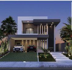 Modern Exterior House Designs, Modern House Facades, Dream House Exterior, Modern House Plans, Modern House Design, Exterior Design, 2 Storey House Design, Bungalow House Design, House Front Design