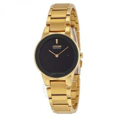 Citizen Axiom Eco-drive Black Dial Gold Stainless Steel Quartz Ladies Watch GA1052-55E - Axiom - Citizen - Watches - Jomashop