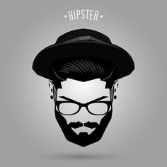 hipster man face with hat on gray background Hipster Drawings, Hipster Art, Men Hipster, Beard Tattoo, Lion Tattoo, Hipster Hairstyles Men, Men Hairstyles, Love Background Images, Gray Background