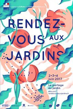 """Affiche des """"Rendez-vous aux Jardins"""", 2, 3 et 4 juin 2017À vos agendas : 15ème édition des @Rdv_Jardins http://www.pariscotejardin.fr/2017/05/15eme-edition-des-rendez-vous-aux-jardins/"""
