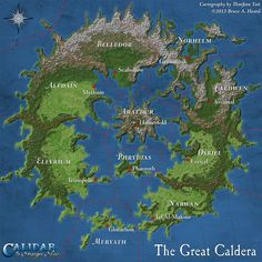 The first draft of the Great Caldera map. I produced this version from work-in-progress assets for the Kickstarter campaign. The final poster map will be a more polished version, with revised terrain, colouring, captions, and so on. Fantasy Map Making, Fantasy City Map, Fantasy World Map, Fantasy Places, Dnd World Map, Imaginary Maps, Rpg Map, Map Layout, Map Maker