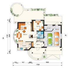 DOM.PL™ - Projekt domu AN LAZURYT CE - DOM AO10-37 - gotowy koszt budowy Diagram, Floor Plans, Malm, Houses, House Floor Plans