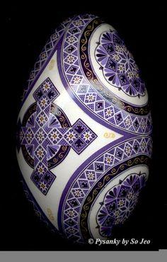 Purple Cross Ukrainian Easter Egg Pysanky By So Jeo