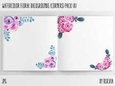 Watercolor Floral Backgrounds with Text Space - Watercolor Floral Corners, Watercolor Flowers Paper Pack, Floral Scrapbook Digital Papers #scrapbook #scrapbooking #background #floral #etsy