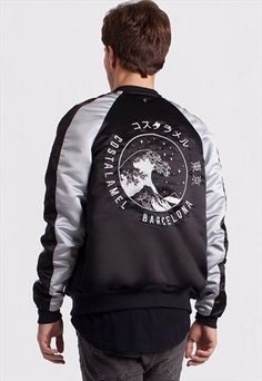 Spacial Souvenir Jacket. Embroidered Satin Polyester Bomber