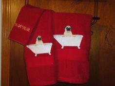 Adorable Pug In Tub Embroidered Bath Towel Set Bath Towel