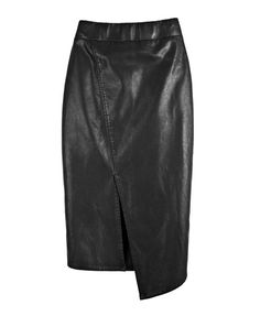 Black PU Leather Pencil Skirt