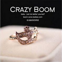 Roja nj83 genuino Corea Del Sur Super Junior máscara de la ópera de Regalo anillo de Dedo Chapado En Oro Rosa Anillos