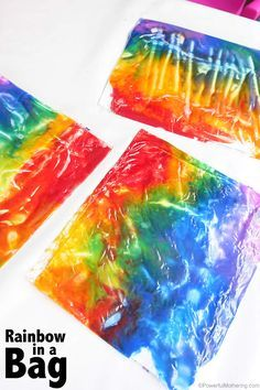 tired of messy art? This rainbow in a bag is just perfect to get a sensory and mess fix without the mess! Its great for babies toddlers and even preschoolers with the extended ideas. Rainbow Activities, Spring Activities, Infant Activities, Toddler Art, Toddler Crafts, Crafts For Kids, Infant Toddler Classroom, Preschool Weather, Preschool Activities