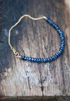 Dark Blue Kyanite in Gold Bracelet. AAA Grade Gemstone.  Blue Gemstone Bracelet. Delicate Sparkle Bracelet. Handmade Jewelry