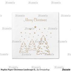 Napkin Paper Christmas Landscape Gold – Own Color