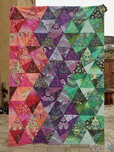 Tula Pink Eden Stereo Quilt + a Fat Quarter Giveaway | Jaybird Quilts Jaybird Quilts, Batik Quilts, Pink Quilts, Colorful Quilts, Quilting Projects, Quilting Designs, Quilting Ideas, Quilting 101, Quilt Design