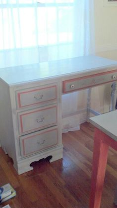 Annie Sloan chalk paint redo desk. Paris Gray and Scandinavian Pink.