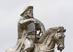 Enormous Statue of Genghis Khan in Mongolia. The statue is 40 meters tall and wrapped in 250 tons of gleaming stainless steel. It stands on top of the Genghis Khan Statue Complex… Mongolia, Equestrian Statue, Genghis Khan, Unique Buildings, Marco Polo, Empire, Darth Vader, Architecture, World