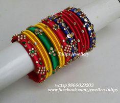 We aim to provide Unique Designed Handcrafted silk thread Jewellery Silk Thread Bangles Design, Silk Thread Necklace, Silk Bangles, Bridal Bangles, Thread Jewellery, Jewelry Art, Indian Bangles, Jewelry Design, Gold Jewelry