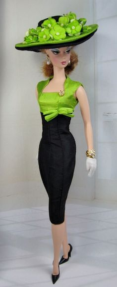 Manzana Verde for Silkstone Barbie. ~~ A gorgeous chartreuse and black linen custom dress and hat for the ever elegant Silkstone Barbie...