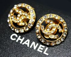 Vintage 1970s  1980s CHANEL Gold Logo Earrings by fashionsquid