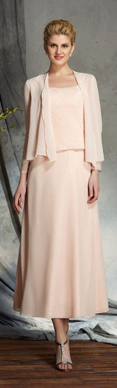 Elegant blush pink tea length mother of the bride dress in chiffon.. Nice for a summer beach wedding, and with a chiffon jacket, a custom dress by GemGrace