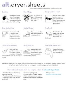 (Alternative Uses for Dryer Sheets: Free Cheat Sheet Printable. Cleaning Checklist, House Cleaning Tips, Cleaning Hacks, Uses For Dryer Sheets, Clean Freak, Cleaners Homemade, Green Cleaning, Natural Cleaning Products, Cleaning Solutions