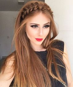Half up hairstyles 2018 for the prom. - neuesteHaarmodelle - - Half up Frisuren 2018 für den Abschlussball. Hairstyles 2018 Half up hairstyles 2018 for the prom.Gorgeous Braided Rope Headband Long Hairstyles 2017 – 2018 for Fine HairLuce hermosa c Straight Prom Hair, Straight Hairstyles Prom, Straight Hair With Braid, Braid Front Of Hair, Bridesmaid Hair Straight, Hair Styles Straight, Straight Haircuts, Short Haircuts, Pinterest Hair