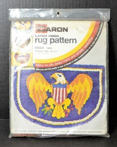 SOLD!  EAGLE VTG Latch Hook Rug Pattern 3019 Caron Brand USA 3 Possible Color Combos #Caron