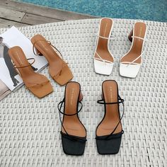Women Summer Sandals 2019 High Heel Sandals Slippers Slip On Open Toe Sandals Casual Outdoor Slippers Narrow Band Slides-in High Heels from Shoes on AliExpress Cute Shoes, Me Too Shoes, Trendy Shoes, Cheap High Heels, Womens Summer Shoes, Open Toe Sandals, Women's Sandals, Sandal Heels, Summer Sandals