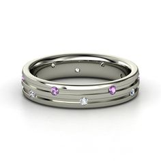 Slalom Band. Sterling Silver with Amethyst and Diamond.