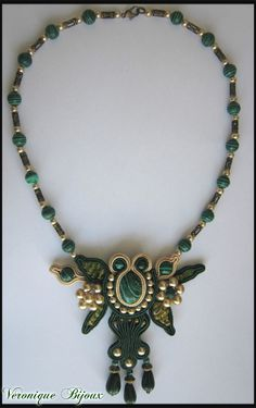 """Green and gold"" necklace soutache"