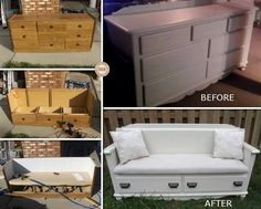 Repurpose an old dresser into bench seating with storage. Forget the sides and cushion the back!