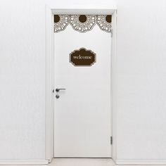 Apply this welcome vinyl sticker on your door! This door decal features a welcome message and lace pattern that will add a decorative look to your doors Door Stickers, Wall Stickers Home, Tall Cabinet Storage, Locker Storage, Baby Room Diy, Dark Star, Star Wall, Kids Wall Decals, Sticker Shop