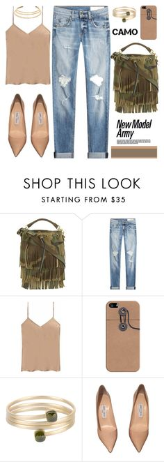 """""""Camo"""" by mrs-rc ❤ liked on Polyvore featuring Yves Saint Laurent, rag & bone, Etro, Casetify, 8, Jimmy Choo, Kenneth Jay Lane and camostyle"""