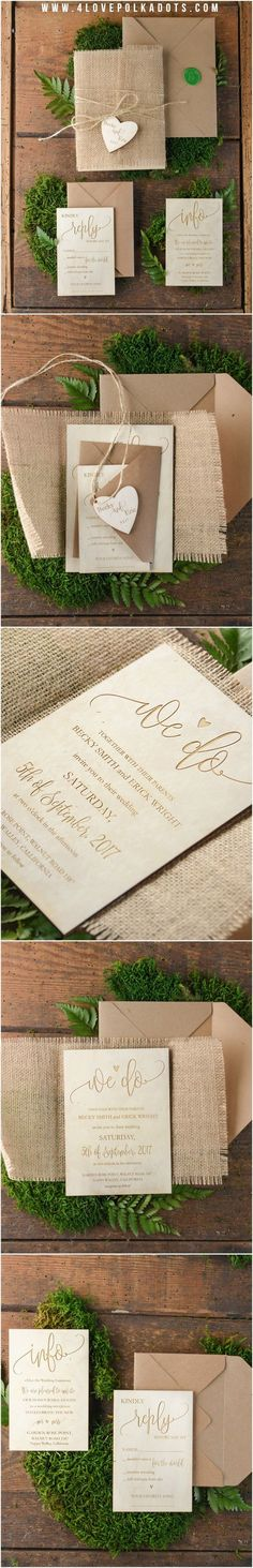 Oh we do like a little rustic luxury. And these beautiful wedding invitations by @4LOVEPolkaDots with the burlap wrapping hit it perfectly!