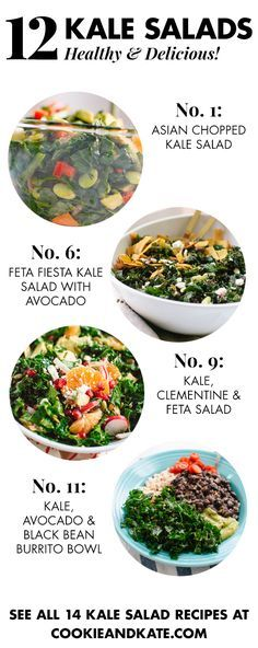 Find 12 healthy, hearty kale salad recipes at cookieandkate.com!