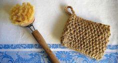 Küchenschwamm aus Paketschnur – ökologische Alternative zum Selbermachen (für Gläßer und zum Abwischen der Arbeitsplatte z.B. Spüllappen aus alten Frottee-Handtüchern verwenden )