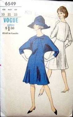 batwing+dress+pattern   Vintage VOGUE 6539 Batwing Dress Pattern size 10 by HandyHousewife