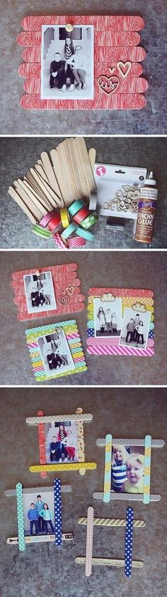28 Best DIY Photo and Picture Frame Crafts (Ideas and Designs) for 2020 Kids Crafts, Craft Stick Crafts, Crafts For Teens, Craft Gifts, Kids Diy, Diy Gifts For Mom, Diy Mothers Day Gifts, Easy Diy Gifts, Homemade Gifts