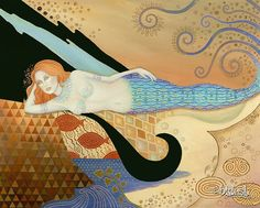 B K Lusk Large Art Nouveau Painting Mermaid by paintedgirl on Etsy, $600.00