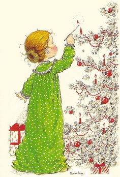 a postcard by Sarah Kay, published by Paperitaide, from the year 1979 Vintage Christmas Cards, Christmas Images, Christmas Art, Vintage Cards, Holly Hobbie, Clipart Noel, Mary May, Creation Photo, Christmas Illustration