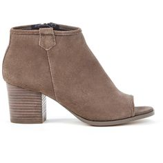 Sole Society Bambi Peep Toe Bootie (5.340 RUB) ❤ liked on Polyvore featuring shoes, boots, ankle booties, dark taupe, bootie boots, peep toe bootie, peep-toe booties, suede bootie and peep-toe boots