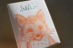 bookspaperscissors:    Letterpress Hello Card Fox by sycamorestreetpress on Etsy