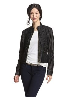 59% OFF Hawke Women's Ruched Faux Leather Jacket (Black)